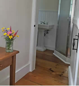 Wide plank wood floors, beige walls, fresh yellow and pink flowers on a wood table, view of bathroom in background