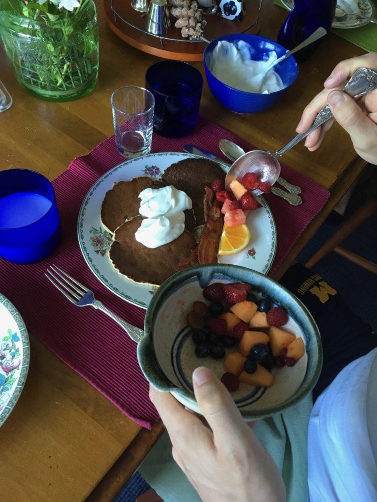 B&B guests enjoy local, organic fresh fruit with their healthy breakfast.